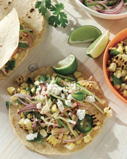 Charred Corn Tacos with Radish Zucchini Slaw