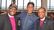 Actor/activist Danny Glover (center) was welcomed to the Mid-South by local leaders of the CME Church. Glover was the commencement speaker at Lane College in Jackson, Tenn. on Saturday. (Photo by Tyrone Easley)