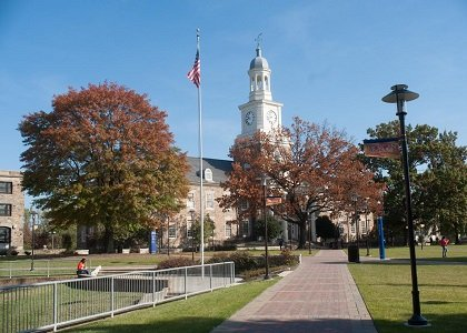 Morgan State University's iconic Holmes Hall and the Academic Quad