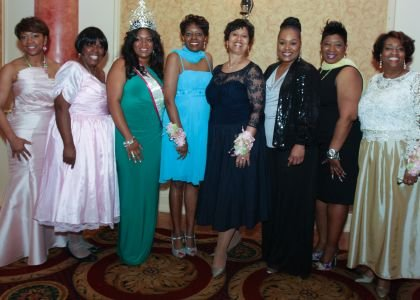 (Pictured from left to right) Judy Johnson, Minretta McFadden (Cotillion Tri-Chair), Tatianna White (Miss Pink and Green Fantasy 2014), Melanie L.  Burney (President, Theta Pi Omega Chapter, Alpha Kappa Alpha Sorority, Inc.), Glynis Spencer (Cotillion Tri-Chair), Aquanetta Dickens (Debutante Co-Chair), Felicia Hopson (Debutante Co-Chair), El-Rhonda Williams Alston (Cotillion Tri-Chair).