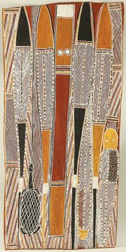 """The Burala Rite"" by Tom Djawa (1972). Earth pigments on bark. Kluge-Ruhe Aboriginal Art Collection of the University of Virginia, Charlottesville."