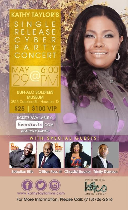Legendary Gospel Recording Artist Kathy Taylor invites bloggers, editors and her fans to the highly anticipated Single Release Cyber Party/Concert, ...
