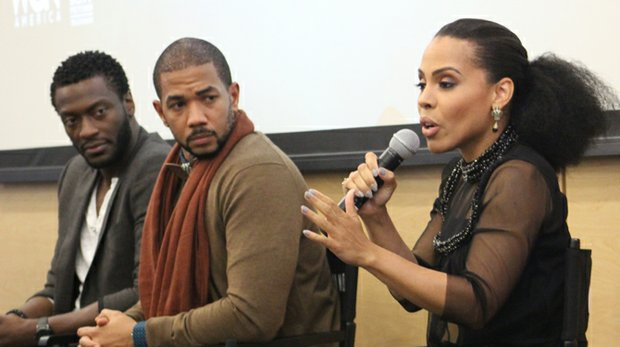 "Amirah Vann (""Ernestine"") of the hit slave drama ""Underground,"" talks to a packed room at the National Civil Rights Museum Tuesday night while her co-stars Aldis Hodge (""Noah"") and Alano Miller (""Cato"") listen in."