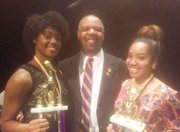 Winners of the 2016 Second District Talent Hunt (left to right) First Place Vocal Classical, Katyrah Davenport; John Berkley, Pi Omega Chapter Talent Hunt Chairman; and First Place Visual Arts, Kaila Hammond.