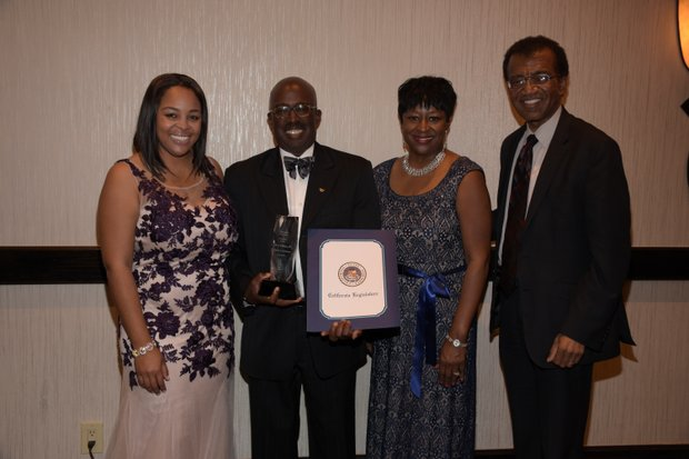 (L-R) Ta Lese Morrow, (Co-Publisher); Gilbert Holmes, JD, Honoree, Dean and Professor of Law (University of La Verne, College of Law); Juanita Dawson (PAB); Judge Richard T. Fields (Riverside Superior Court)