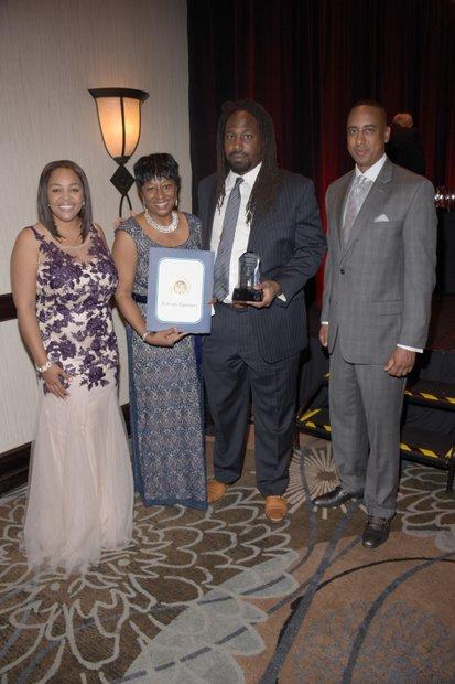(L-R) Ta Lese Morrow, (Co-Publisher); Juanita Dawson (PAB Member), Kenneth Gray (Honoree); Michael Lacy (PAB Chair)