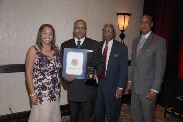 (L-R) Ta Lese Morrow (Co-Publisher); A. Majadi , Honoree, (President/CEO of the Boys & Girls Club); Bonnie James Ed.D (BRJ & Associates, LLC) ; Michael Lacy (PAB Chair)