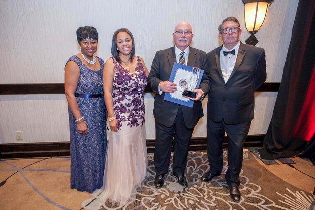 (L-R) Juanita Dawson (PAB); Ta Lese Morrow (Co-Publisher); Richard Yochum, Honoree, President/CEO (Pomona Valley Hospital); Dyke Rogers, CEO (ROCO AGAPE Charitable Foundation)