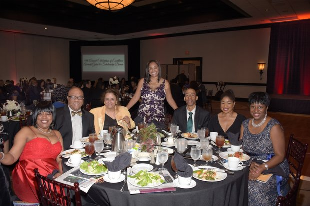 (L-R) Tamara Weston, Honoree,VP of Multicultural Marketing (Macy's); Frank Robinson, Senior Vice President Public Affairs Manager (Union Bank); Martha Montoya, Benjamin Beal and Guest, Juanita Dawson, (Raytheon)