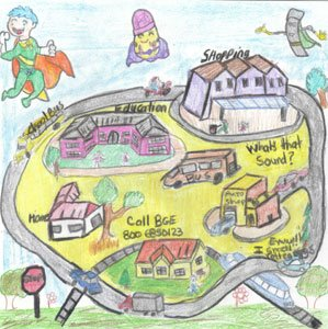 """Created by Fallstaff Elementary/Middle School third grade student Genesis Bobadilla, this illustration was the winner of the third annual """"Adventures of Captain Mercaptan, BGE Natural Gas Safety Hero Challenge."""