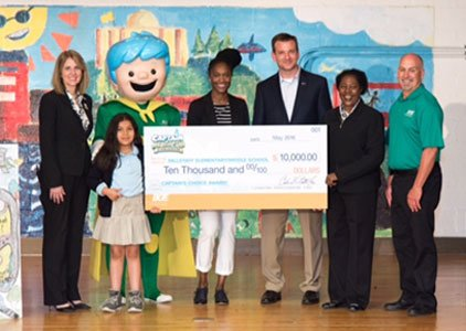 """Students at Fallstaff Elementary/Middle School were """"electrified"""" with excitement after learning their school was the winner of the third annual ..."""