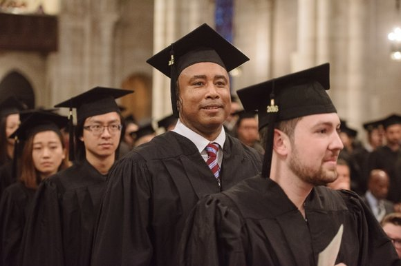Former Yankee center fielder Bernie Williams lined up with more than 200 other graduating Manhattan School of Music students Friday ...