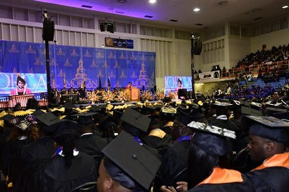 Nearly 850 students graduated from Morgan State University on May 21, 2016