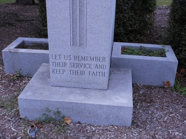 A monument in Plainfield, like many around Will County, is a memorial to the service of veterans to their country.