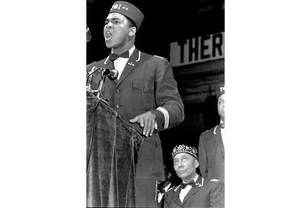 Muhammad Ali speaks at a Nation of Islam convention in Chicago in February 1968.