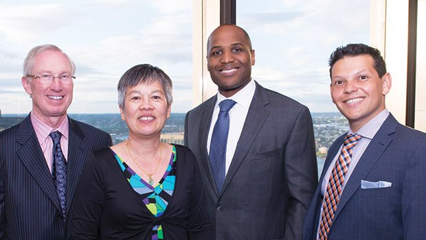 Left to right: Mark Roellig (General Counsel of MassMutual), Cynthia Mark (Chief of the Fair Labor Division in the Attorney General's Office), Dominic Blue (Deputy General Counsel of MassMutual), and Ivan Espinoza-Madrigal (Executive Director of the Lawyers' Committee for Civil Rights) at the 48th Anniversary of the Lawyers' Committee on Thursday, June 9, at the Boston College Club.