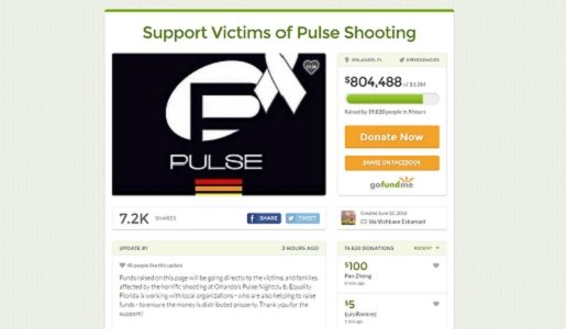 A crowdfunding campaign to support the Orlando Pulse shooting victims and their families has pulled in more than $4 million.
