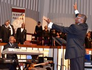 The opening session of the annual convention of the PNBC Southern Region Conference featured eight directors of music.