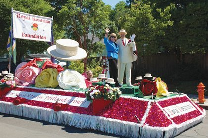 Portland's Royal Rosarians adorn a floral float at Saturday's parade to spread good cheer as the city's official greeters and ambassadors of goodwill.