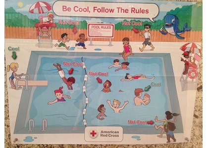 The Red Cross is apologizing after a poster depicting pool safety rules was circulated on Twitter and flamed for being ...