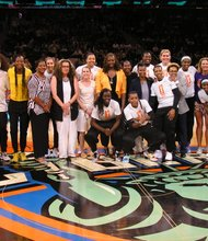 The current players of the New York Liberty are joined on court by the original 1997 squad before Sunday's game vs the Phoenix Mercury.