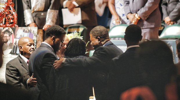 """Friends remember Darryl """"DJ""""  Burt II at his funeral Saturday. From left, they are Fred Johnson, Antwine Jenkins, Javád Whigfall and Alex Barr. The four men were at the nightclub when he was killed in the June 12 massacre at Pulse in Orlando, Fla."""
