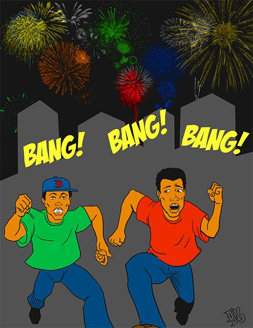 """""""Man, I don't know whether that's the sound of fireworks or someone exercising their 2nd Amendment rights."""""""