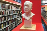 A bust of novelist Henry James on the mezzanine level of BPL.