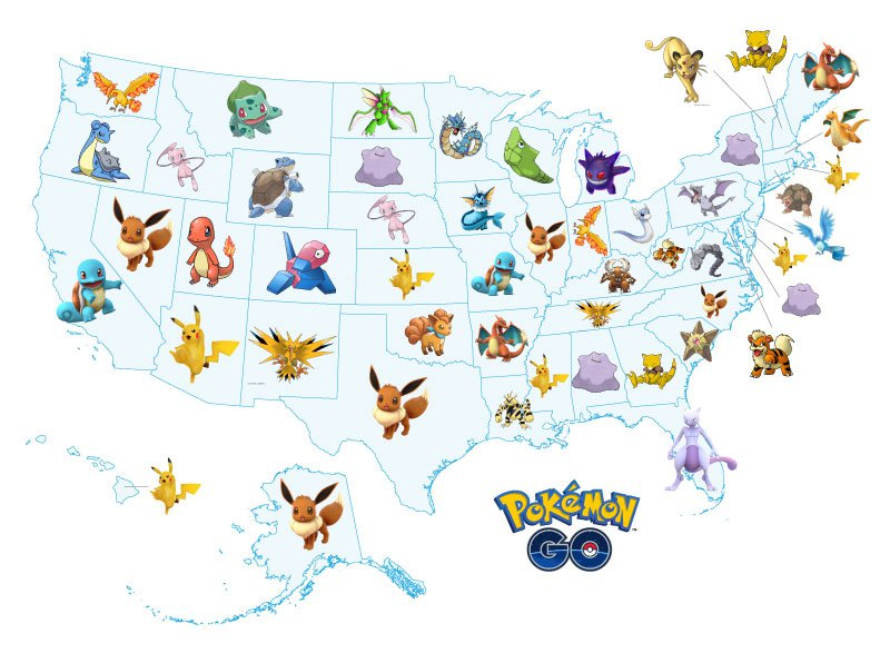 The Pokemon Each Us State Is Desperately Searching For On Pokemongo