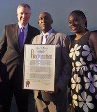 Mayor Bill de Blasio, Lloyd Williams, and Chirlane McCray