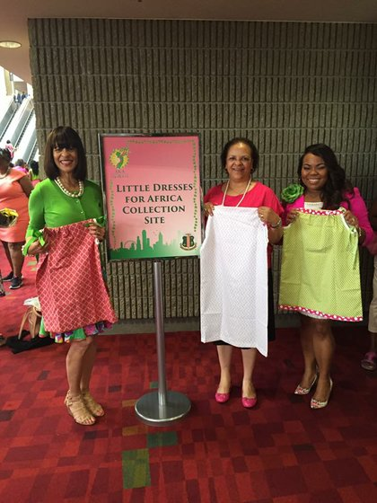 Mu Ka Omega Chapter Of Alpha Sorority Inc Made 41 Little Dresses