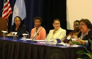 **FILE** Moderator Dr. Kathleen Phillips-Lewis sits with panelists Tanisha Ford, ASALH President-elect Evelyn Brooks Higginbotham, Francille Rusan Wilson and Dr. Jacqueline Rouse at the Friday Night Out event during the 2015 Centennial Conference at Clark Atlanta University. (Courtesy of asalh100.org)