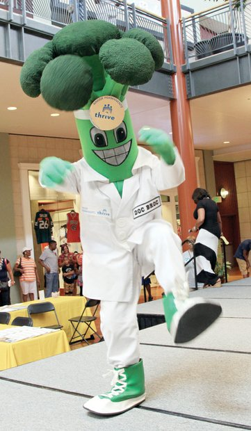 Kaiser Permanente mascot Doc Broc wowed the audience with a few moves of his own.