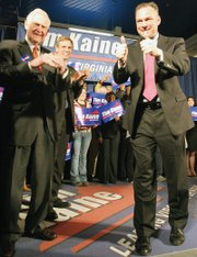 Lt. Gov. Kaine campaigns in 2005 with his father-in-law, former Gov. A. Linwood Holton, and outgoing Gov. Mark Warner