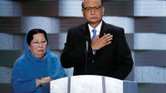 Ghazala, left, and Khizr Khan of Charlottesville appear July 28 on the final day of the Democratic National Convention in Philadelphia to talk about the sacrifice of their son, Army Capt. Humayun Khan, who was killed by a suicide bomber in 2004 during the Iraq War.