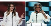 Congresswoman Joyce Beatty, right, delivers a speech in her own words at the Democratic National Convention in Philadelphia on July 28 in a dress very similar to the dress worn by Melania Trump, left, during her plagiarized speech at the Republican National Convention on July 18.