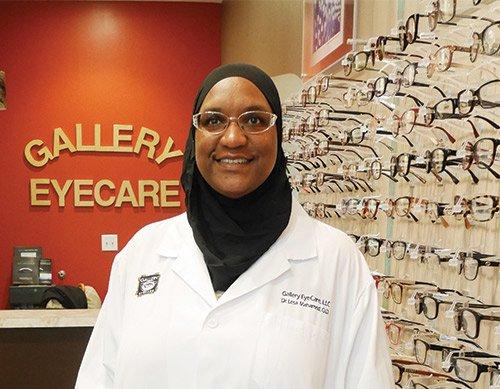 Lesa Dennis-Mahamed's full-service shop includes a wide selection of frames.