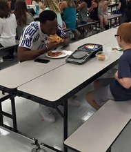Travis Rudolph is a wide receiver at Florida State University. During a recent visit to Montford Middle School in Tallahassee, Florida, Rudolph decided to sit with Bo Paske. The boy has autism and often eats lunch alone, according to his mother, Leah.