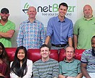 Part of Team netBlazr — the others are all out changing broadband in America! (front l-r) Tina Loussaint, Yna Aggabao, Will Fleurant, Samir Ammar, Richard Sefah. (back l-r) TJ Patriqin, Jim Hanley, Perry Wasserbauer, Max Ariza.