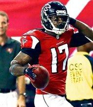 Atlanta Falcons return man Devin Hester celebrates a punt return for a touchdown during the 2015 NFL season.