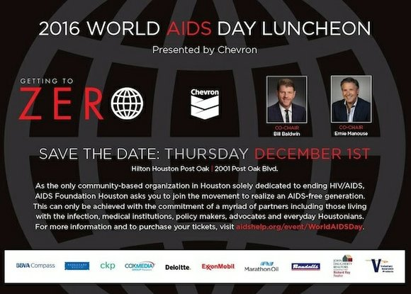 AIDS Foundation Houston, together with event chairs Bill Baldwin and Ernie Manouse, will host the annual World AIDS Day Luncheon, ...
