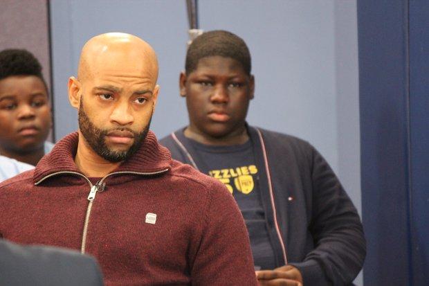 Vince Carter listens during a mentoring conversation as part of the Memphis Grizzlies' 2016 MLK Weekend activities.