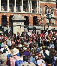 """On Monday a delegation of interfaith clergy led a """"Higher Ground Moral Day of Action"""" outside of the State House in Boston and in over 25 other capitals across the country. """"Our state and the nation truly has a heart problem when we find there are so many people struggling, while a few continue to grow and prosper,""""said Rev. Mariama White-Hammond, Bethel AME minister and member of the NAACP – Boston Branch. """"Today's calling of a higher moral ground is to encourage our elected leaders to stand for what is right and help raise up the marginalized families throughout our state."""""""