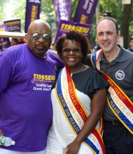 George Gresham of 1199SEIU with Secretary-Tresurer, Janella Hinds and President Vincent Alverez of City Central Labor Council