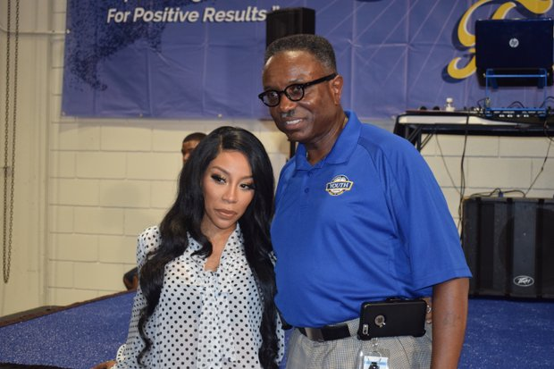 Right: Singer/reality TV star K Michelle was on hand during the Classic College Fair GPS at the Pipkin Building. Director Ike Griffith and the city's Office of Youth Services hosted thousands of students.