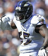 Ravens outside linebacker Terrell Suggs celebrates after making a play during the 2015 NFL season.
