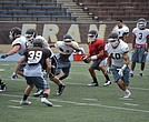 Saint Francis junior quaterback Don Butkus (red jersey) attempts a handoff in practice. (by Alex Ortiz)
