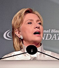 Hillary Clinton speaks at the Congressional Black Caucus Foundation's gala awards dinner on Sept. 18.