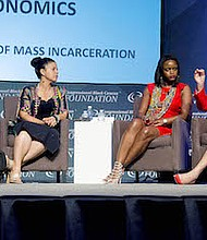 Julianne Malveaux (right) participates in the National Town Hall Meeting panel with (from left) National Urban League President Marc Morial; Brittany N. Packnett, executive director of the St. Louis chapter of Teach for America; and Melina Abdullah, professor and chair of Pan-African studies at California State University during the Congressional Black Caucus Foundation's Annual Legislative Conference at the Walter E. Washington Convention Center in D.C. on Sept. 15.