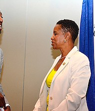 Rep. Donna Edwards chats with the Rev. Tony Lee at the Congressional Black Caucus Foundation's 46th annual legislative conference in northwest D.C. on Sept. 16.